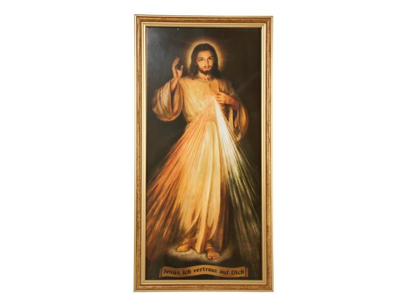 Bild \'Jesus ich vertraue...\'/Glas m. Rahmen, 18x36 cm, Sakrale Kunst ...