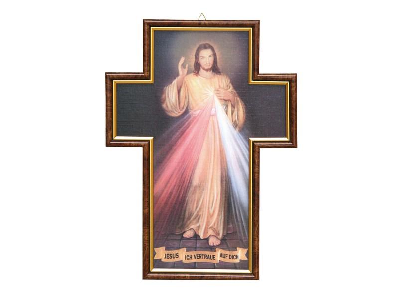 Bild \'Jesus ich vertraue..\' mit Rahmen in Kreuzform, 35x25cm ...